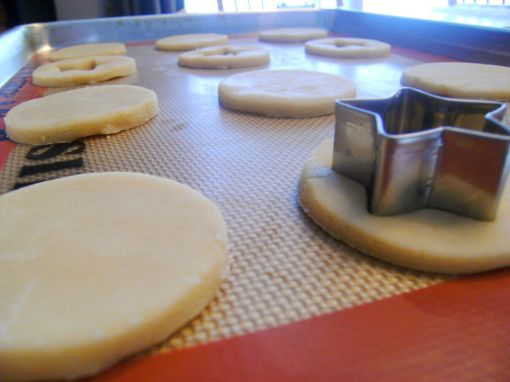 Shortbread Linzer Cookies being cut out