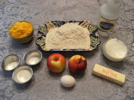 Ingredients needed to make cheddar-apple scones - get the recipe from comfortablydomestic.com