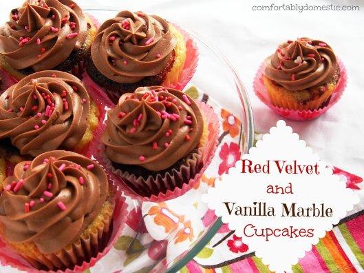 Red Velvet Vanilla Marble Cupcakes Header
