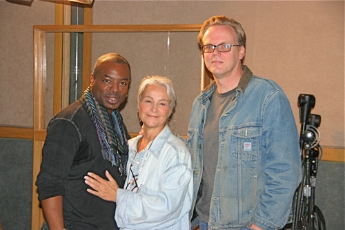 LeVar Burton, casting/dialogue director Andrea Romano, and executive producer Bruce Timm