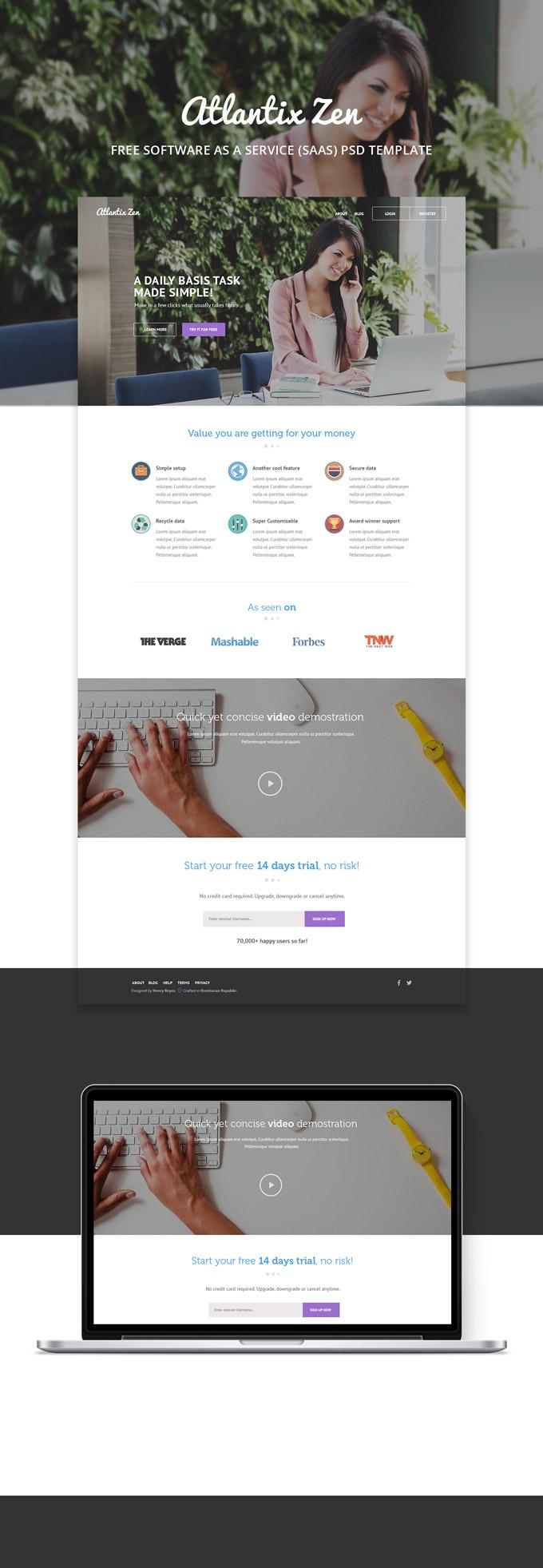 Atlantix Zen - SAAS free PSD web template