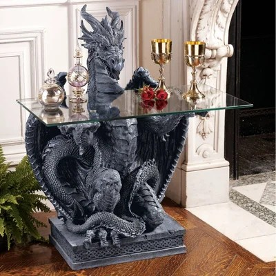 Image of Design Toscano The Subservient Dragon Glass Topped Sculptural Table in Grey Stone (TXG1856)