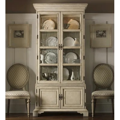 Image of Lexington Twilight Bay Pierpoint Display Cabinet in Distressed Textured Soft Taupe Gray (LTN1945)