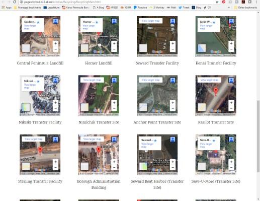 Embedded maps of Kenai Peninsula recycling locations