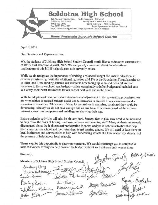 2015 April 9 SoHi Student Council to Legislators Funding