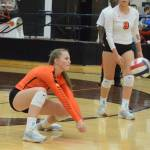 Aledo junior hitter Sydney Casey digs a ball during the Aledo/Boswell match. The Ladycats will continue District 6-5A play at 6:30 p.m. today at home against Eaton.