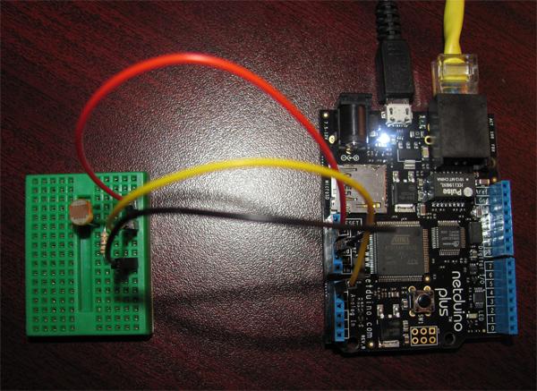 Light Sensor Connected to Netduino Plus