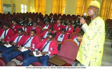 Director, Biotechnology Centre of the University, Dr. Adewale Obadina addressing students
