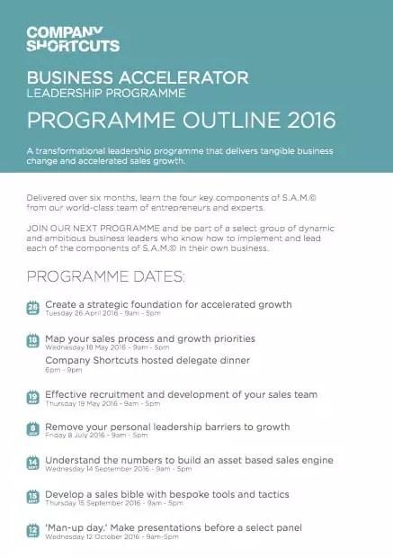 Business Accelerator Leadership Programme Outline 2016