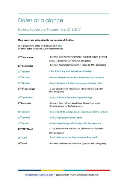 Business Accelerator Leadership Programme Outline 2016/17