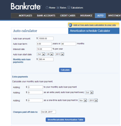 amortization table bankrate | Brokeasshome.com