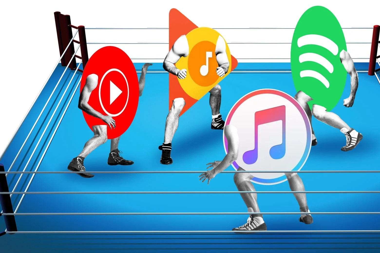 YouTube Remix  Is Google preparing to challenge Spotify and Apple Music  YouTube  Google Play  Spotify  and Apple logos wrestling