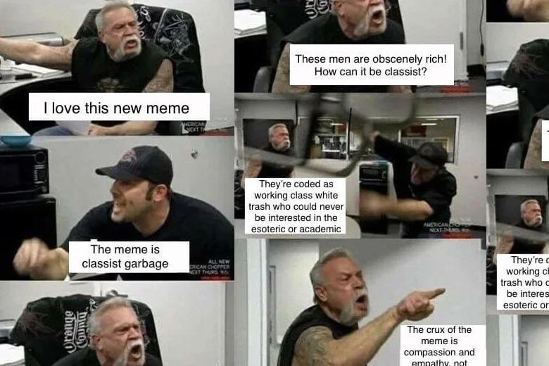 The American Chopper meme was a good internet thing  Screenshot of meme from Twitter