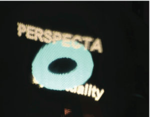 """A side view of the Perspecta Logo. Notice that the letters """"al"""" are no longer occluded while the letters """"by"""" are now occluded."""