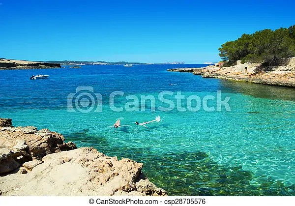 Cala gracioneta beach in ibiza island  spain  A view of the     Cala Gracioneta beach in Ibiza Island  Spain   csp28705576
