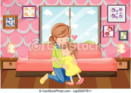 Mother And Daughter Hug In Bedroom Csp50007811