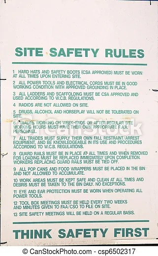 Signs at a constructions site. List of safety rules at a... picture - Search Photo Clipart ...