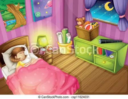 A Girl And Bedroom Csp11624031