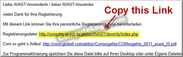 Avast Internet Security 6 (2011) eMail Link