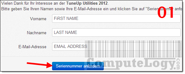 TuneUp Utilities 2012 License Request Form
