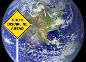 USA Earth with Warning Sign on Pole 01