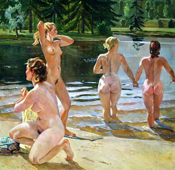 african girls bathing in river