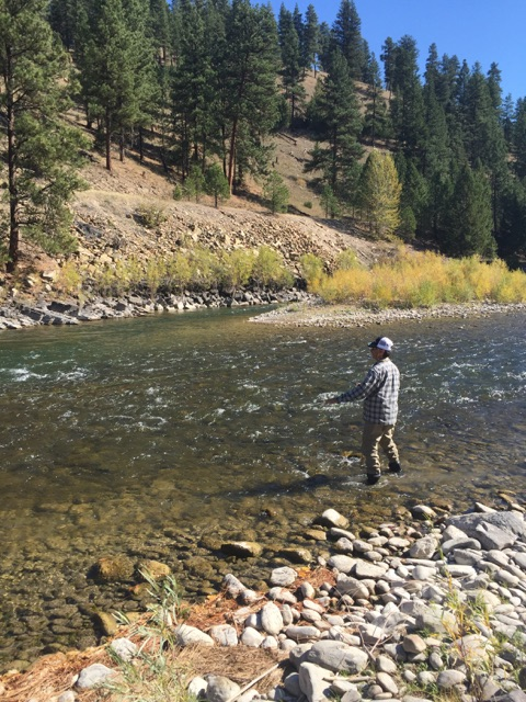 Jeff B wading the blackfoot