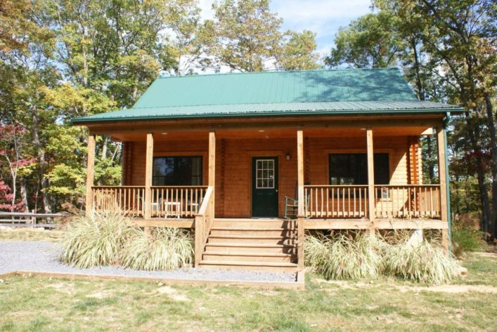 Log cabin exterior with porch