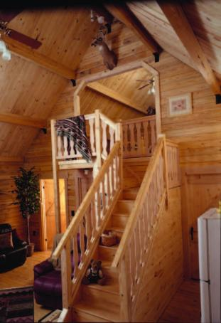 open beam roof system in log cabin