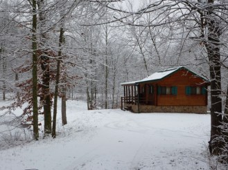 log cabin winter white out in woods