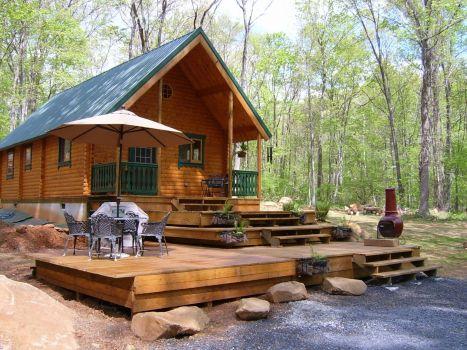 Vacationer log cabin Multi Level Deck