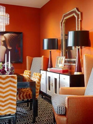 Black and Orange Dining Room