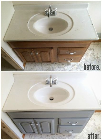 before and after painted bathroom cabinets