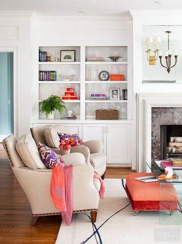Bookcase Decor via BHG