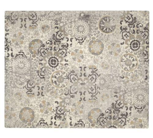 Talia Printed Rug--Gray--Pottery Barn