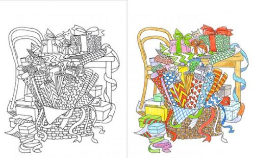 Color Me Cluttered Gift Wrap Page--Coloring Books