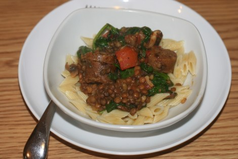 Lentils and Sausage over Pasta