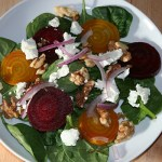 Spinach and Beet Salad with Goat Cheese