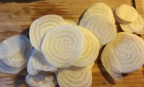 white beets sliced