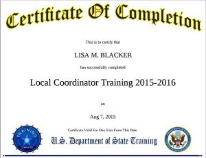 Dept of State certificate Local Coordinator