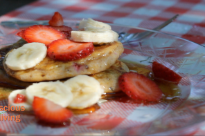 Watch: Vegan Strawberry, Banana GF Pancakes