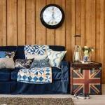 decoracao rustica sala sofa capa azul