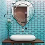 6 lavabo com papel de parede moderno e azul