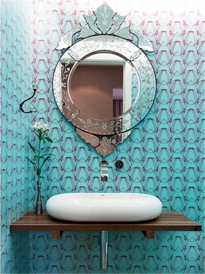 6 decoracao de lavabo com papel de parede moderno e azul
