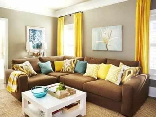 sofa de canto marrom com amarelo decoracao