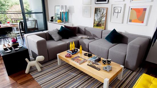 sofa de canto modulos cinza