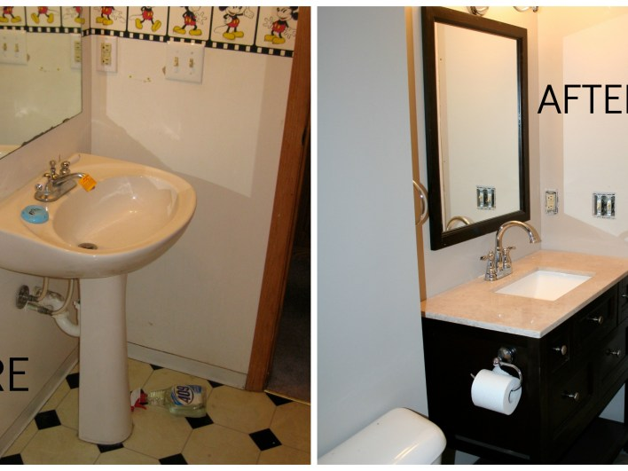 before and after downstairs bathroom