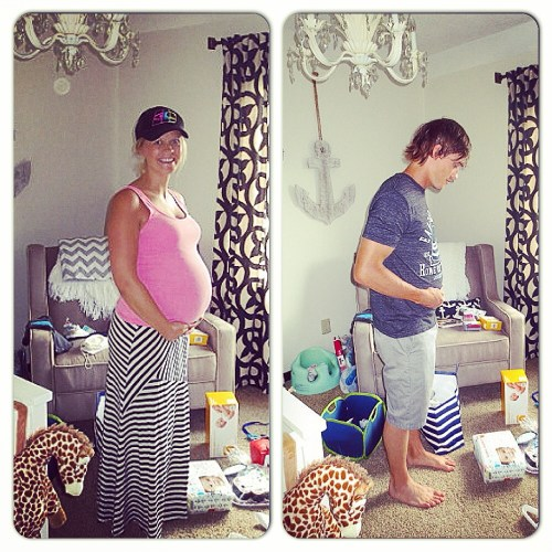 Morgan & Jamie Molitor 33 weeks pregnant in remodeled nursery, construction2style