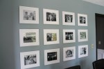 Large White matted picture frames with black and white photos on construction2style