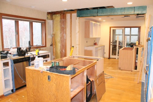 removing wall, and putting a header in, construcion2style kitchen remodel